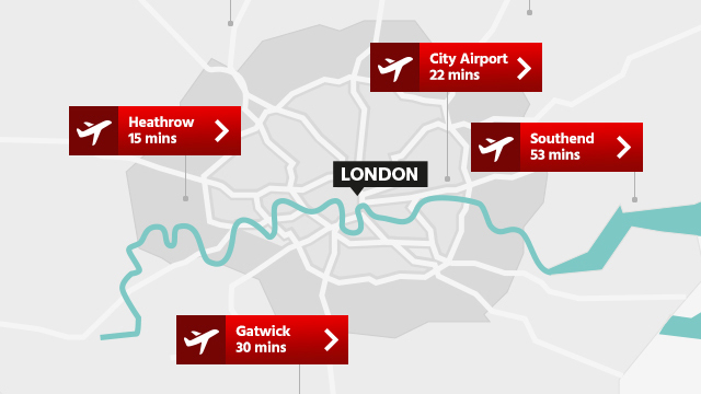 London airport distance map